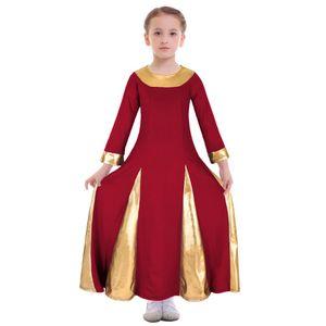 2019 New Kid Girls Loise Dress Metallic Lyrical Church Dance Ballet Long Maxi Dress Costume Gown Ball Dance Ballet Ballet