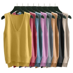 Taotrees Outono Feminino Casual Vogue pulôver de malha Vest cor sólida V-neck mangas Sweater Vest