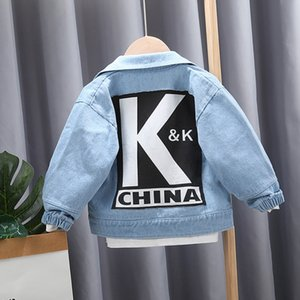 New Baby Boys Fashion Denim Jacket Spring Autumn Jackets Kids Letter Outerwear Coats Boys Clothes Children Jacket 1-4 Yrs