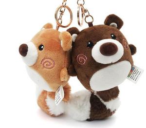 Creative Bear Plush Pendant Backpack Hanging Car Keychain Long Tail Doll Gift