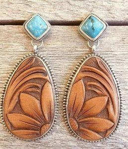 Vintage Wassertropfen Ohrringe Damen Thai Silber Türkis Sonnenblume Muster baumeln Ohrringe Geschenke für Mädchen / Damen