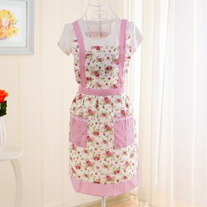Women Cooking Cotton Apron Bib Lady Restaurant Home Kitchen Apron for Pocket