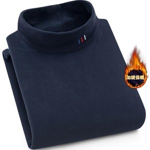 New Winter Casual Thick Warm Mens Sweater Top Quality Pullover Shirt Bottoming Plus Velvet Thick Half-High Collar Sweater