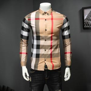 Мужская одежда осень-осень 2019, классическая рубашка с решетчатой печатью, молодежный квадратный воротник, рубашка с длинными рукавами