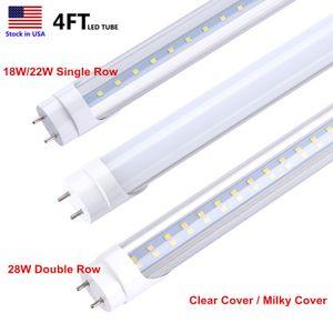 Tube LED T8 Ampoules à LED 4FT 18W 22W 28W Blanc froid 5000K 6500K Super Bright T8 Tube 4feet led AC85-265V Tube
