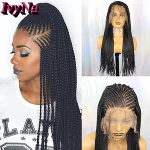 IvyNa микро плетеный синтетические кружева перед парики коробка скорости 13x6 Футура жаропрочных плетеный скорости 13x6 кружева передние парики с волосами младенца 200С