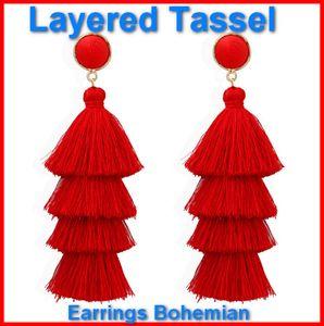 Boucles d'oreilles pour oreilles sensibles Boucles d'oreilles multicolores pompons Set bohème Dangle Drop Tassel Tassel Druzy boucles d'oreilles femmes cadeaux acc023