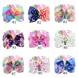 8 pouces Jojo bowknot Hairpin Rainbow Kids Unicorn Cartoon diamant avec Barrette cheveux Bows Barrette bébé Clips cheveux GGA2681