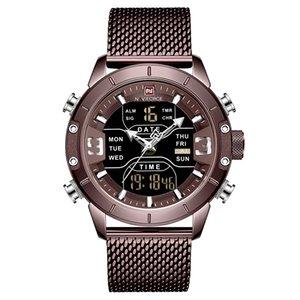 2019 Nova NAVIFORCE Homens Moda Dual Display Strap aço quartzo relógio Mens clássico inoxidável Esporte Relógios de pulso Relogio Masculino
