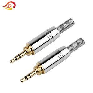50PCS 3,5 milímetros 3 Pole fone de ouvido áudio de solda fio Conector DIY HiFi Headphone plug Stereo Adapter com cauda plug corrigir Cable