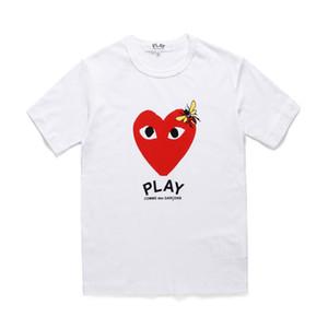 2019 New Big Red Heart imprimé hommes T-shirt Jeu vert / rouge coeur Coton Casual Couple T-shirts T-shirt de mode CDG hommes chemise à manches courtes 3 couleur
