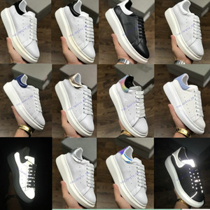Designer Plate-forme en cuir blanc réfléchissant 3M sneakers Femmes Hommes Casual Flat Party Chaussures de mariage Suede Sport Sneakers36-40