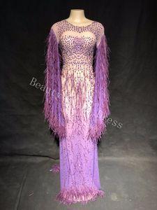 Abiti da sera sexy di lusso strass scintillante Mesh Dress Dress Prom Dress Celebrating Outfit Wedding Costume da DJ