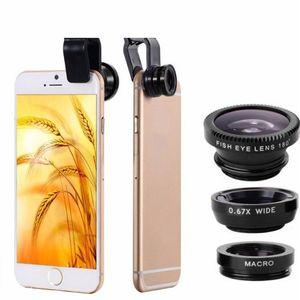 Universal 3 in 1 Wide Angle Macro Fisheye Mobile Phone Lenses Kit with Clip Fish Eye Lens
