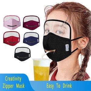 Nouvelle créativité Zipper Masques enfants visage yeux Bouclier Masque Zipper Coton intégré Masque anti-poussière respirant bouche couverture