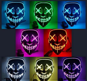 Masquerade Masks Halloween Mask Led Mask Party Masque Neon Light Glow In The Dark Horror Glowing Masker Purge