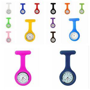 120pcs 추진 크리스마스 선물 다채로운 간호사 브로치 시계 줄 튜닉 포켓 시계 실리콘 커버 간호사 시계 파티 호의 RRA3103N