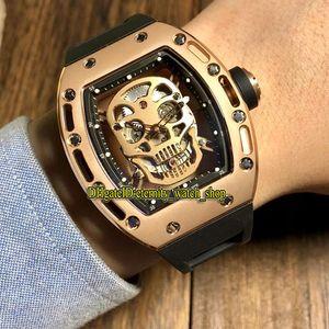 Специальное предложение Luxury RM 052 PVD розового золота Череп Скелет циферблат Япония Miyota Автоматические Мужские RM52-01 Часы каучуковый ремешок Дизайнерские часы