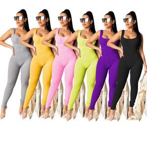 Frauen Designer Overall-Spielanzug ärmellos Tank-Top playsuit einteilige Hosen weibliche Kleidung dünne feste kurze Hose legging klw3412 Overall