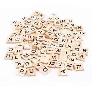 El Wood için 100pcs / set Ahşap Alfabe Scrabble Fayans Siyah Harfler Sayılar