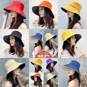 Parent Child 2 Side Wear Bucket Hat Women Summer Beach Wide Brim Sun Cap Girl UV Protect Foldable Fisherman Panama Hat
