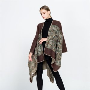 Wholesal Осень Зима Новый европейский и американский уличный ветер камуфляж раскол платок теплый дизайнер роскошный шарф леди подарок 160 * 130см