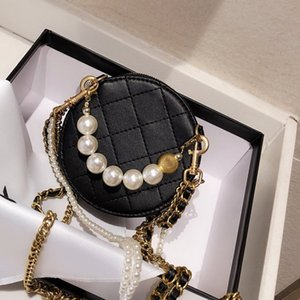 Luxury Designer Brand Women Wallets Genuine Leather Purses Handbags Crossbody Bags Fashion Pearl Decoration Vintage Removable Chain Bags
