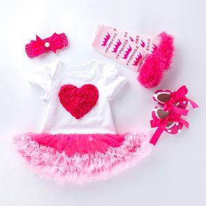 Newborn Baby Girls Birthday Set 4 PCS Sets Cotton Short Bodysuit Dress+Headband+Shoes+Socks Birthday outfits Infant 1st Party