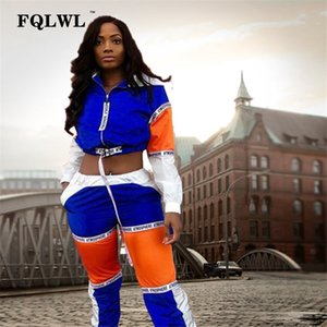 FQLWL Patchwork Femmes Deux Pièces Tenue Lettre Imprimer À Capuche À Manches Longues Crop Top + Pantalon Streetwear Survêtement Femmes Ensembles Assortis
