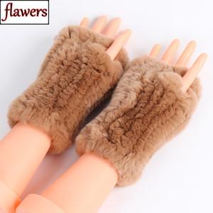 Neue beiläufige Mädchen Natürliche Echt Rex Kaninchen-Pelz-Handschuhe Frauen gute elastische strickte Rex Kaninchen-Pelz-Handschuhe Echt Rex Kaninchen-Pelz-Handschuhe Y191112