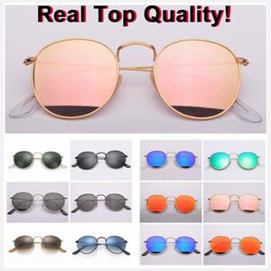 горячая дизайнер солнцезащитных очков круглые металлические модели высокого качества солнечные очки UV400 стеклянные линзы для мужчин, женщин rd3447 зеркало градиент объектив очки с чехол коробка