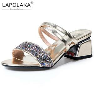 Lapolaka 2020 New Design Frau Pantoletten Sandalen Peep Toe merkwürdige Art Heels Slip-On Bling Pumpen Sommer-beiläufige Frauen-Schuhe