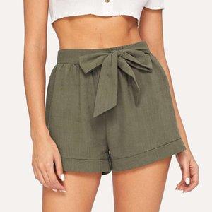 High Waist Shorts Women Summer Korean Design Casual Tie Waist Rolled Hem With Belt Loose Shorts Wide Leg Loose Trousers Femme