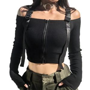 Spring T Shirt Women Long Sleeve T-shirt Crop Top 2020 Korean Fashion Style Feminina Knitted Cotton Black Sexy Short tshirt T200616