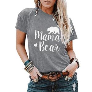 MAMA BEAR المرأة القمصان 7 ألوان رسالة مطبوعة قصيرة الأكمام التي شيرت الصيف في الهواء الطلق التي شيرت تي شيرت بنات تيز OOA7628-4