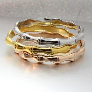 Marca de acero de titanio pulseras de bambú Cóndilo la forma de diseño de la hebilla de oro rosa brazalete de las pulseras de las mujeres Pareja de DHL Declaración de joyería