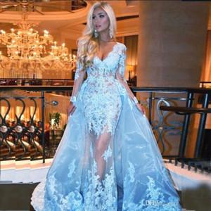 2019 céu azul com overskirts vestidos de baile com decote em v mangas compridas lace applique beads trem da varredura ilusão partido plus size vestidos de noite formais
