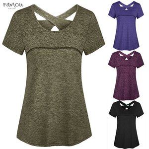 2020 New Arrival Summer Women T Shirt Solid Tunic Short Sleeve O Neck Criss Cross V Neck Babdage Back Sports Gym Athletic