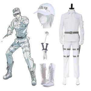 High-Q Unisex Anime Cos Hataraku Saibou Cells At Work Costumi Cosplay White Blood Cell WBC Leukocyte Hakkekkyuu Costumi