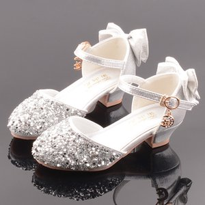Children Leather Shoes Girls Four Seasons Applicable Hallow Closed-toe Princess Shoes GIRL'S Shiny Heel Bow Dance Shoes