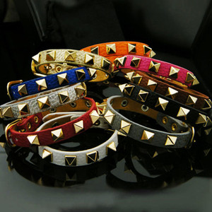 Nueva aleación de moda pulsera de la PU señoras encanto punk caliente remache solo anillo pulsera de cuero pulsera accesorios de los hombres
