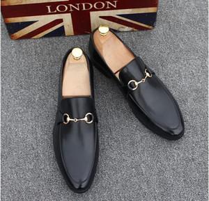 2019 Barato Moda Masculina Casual Couro Genuíno Slip-on Sapatos de Vestido Handmade Fumar Chinelo Flats Homens Sapatos de Festa de Casamento
