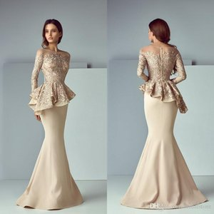 Champagne Mermaid Evening Dresses Dubai Long Sleeves Plus Size Satin Lace Long Prom Graduation Dress 2020 Elegant Formal Party Gowns Cheap