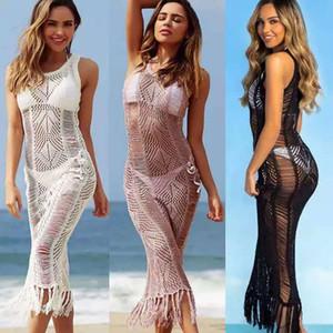 2020 Sexy Crochet Cover Up Costumi Da Bagno Beach Bikini Maxi Vestito Delle Signore tuniche per la Spiaggia Delle Donne protezione solare Beachwear Robe De Plage Saida De Praia