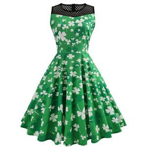 Aziz Patrick Günü Elbise Kadınlar için Kolsuz Oymak Dört yapraklı Yonca Elbise Kazak O-Boyun Yeşil Vintage Yaz Elbise Kadın Giysileri