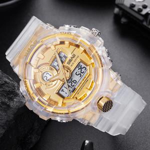 New Fashion Watch Unisex Student Transparent Strap Quartz Analog LED Digital Wrist Watch Date Man  Waterproof Gold