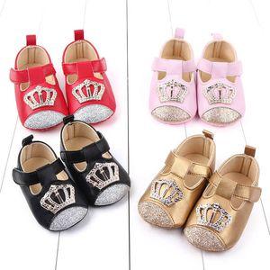 2020 sapatos novos coroa bebê lantejoulas sapatos de bebé princesa Criança sapatos mocassins bebê macia primeiro sapato curta B1203 sapato recém-nascido