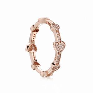 925 Sterling Silver Alluring Corações Anel Para As Mulheres Original Europeu Anéis de Jóias de Ouro Rosa Presente de Casamento