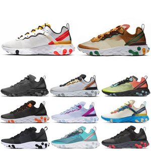 Nike React Element 55 NIKE EPIC REACT ELEMENT 55 Taped Seams Solar Red React Element 55 Total Orange Men Running Shoes For Women Designer Athleti Mens women Trainer 55s Sneakers