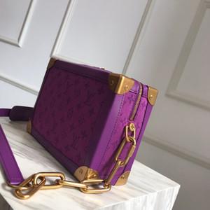 Viola scatola quadrata bag2020 Nuova spalla portatile borsa di lusso del raccoglitore classico del progettista retrò da uomo popolare e Donne Borse stampato beige